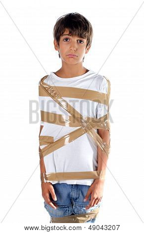 Sad Child Wrapped In Self Adhesive Duct Tape
