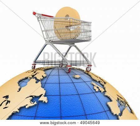 Sign of e-commerce  in a trolley on globe. Conception of trade transactions on the internet. 3d illustration on a white.