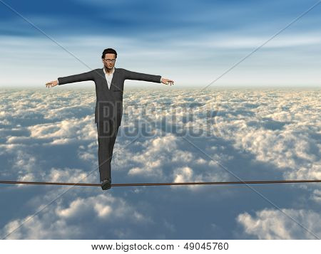 Conceptual concept of 3D businessman or man in crisis walking in balance on rope above  clouds sky background