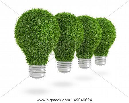 Green grass light bulb row