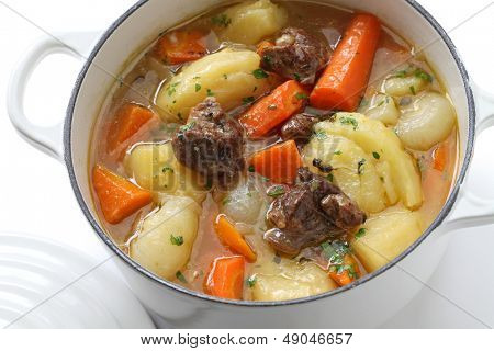 irish stew in enamel pot