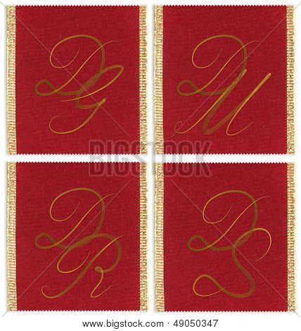 Collection of textile monograms design on a ribbon. DG, DM, DR, DS