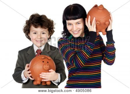 Little Boy And Pretty Girl With Moneybox
