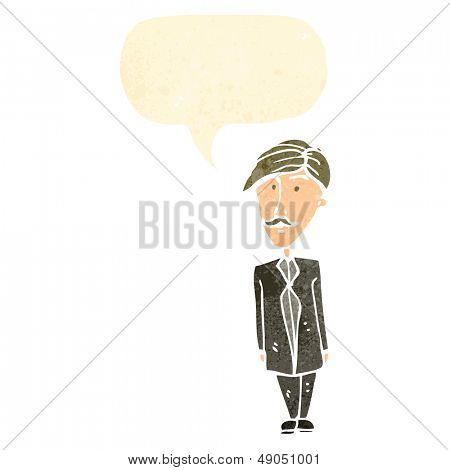 cartoon sensible man with speech bubble