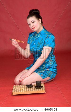japanische Mädchen mit Stock