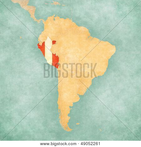 Map Of South America - Peru (vintage Series)