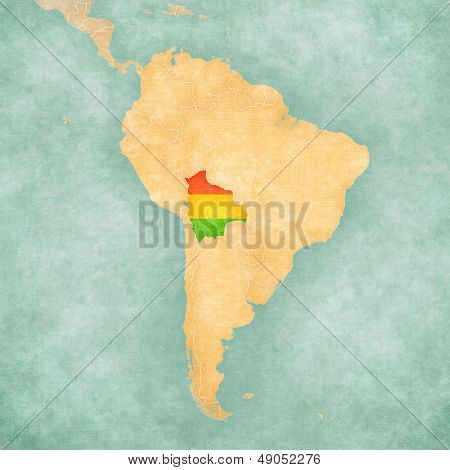 Map Of South America - Bolivia (vintage Series)