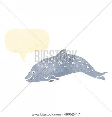 retro cartoon porpoise with speech bubble
