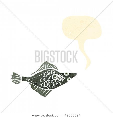 retro cartoon flatfish with speech bubble