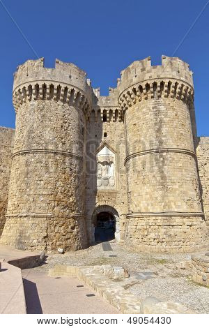 Medieval Marine Gates in the Old Town Rhodes, Greece.