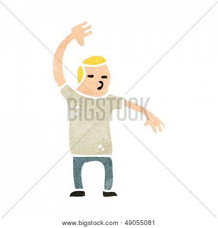 retro cartoon man raising hand