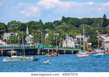 Padnaram Bridge And Harbor With Boats Piers Dartmouth Massachusetts