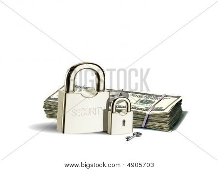 Padlock And Money Stack