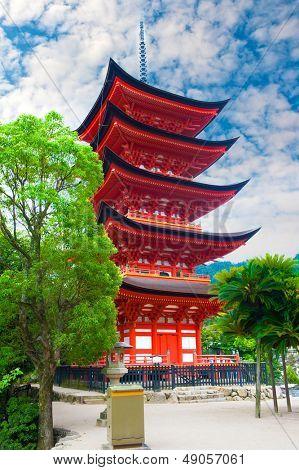 Five-storied pagoda  at Miyajima island, Japan