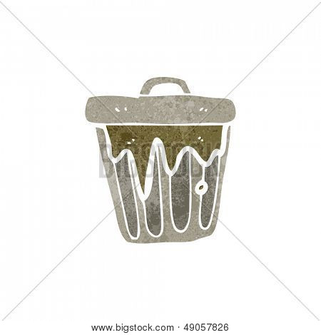 retro cartoon rubbish bin