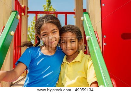 African american brother and sister at the playground