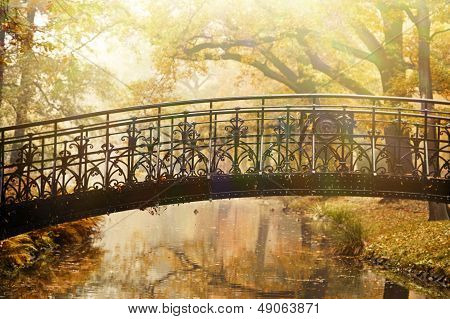Old Bridge In Autumn Misty Park