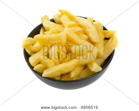 Bowl Of Hot Chips Over White Background