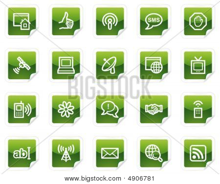 Internet Web Icons, Green Sticker Series