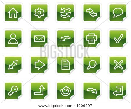 Basic Web Icons, Green Sticker Series