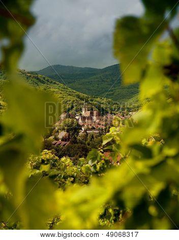Andlau Wein Dorf im Elsass Frankreich durch verschwommene Reben anzeigen