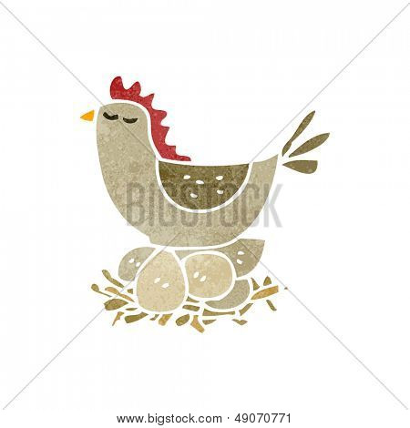 retro cartoon hen roosting on eggs