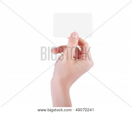 Female Hand With A Blank Isolated On White