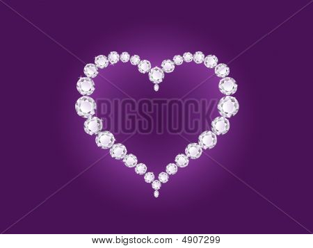 Diamond Heart On Violet Background