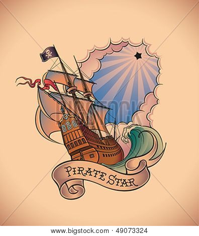 Old-school styled tattoo of a pirate ship on the background of a shining black star and a banner. Editable vector illustration.