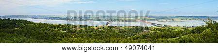 180 degree panorama of missouri river in south dakota