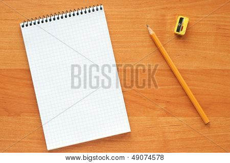 White Blank Notebook With Pencil