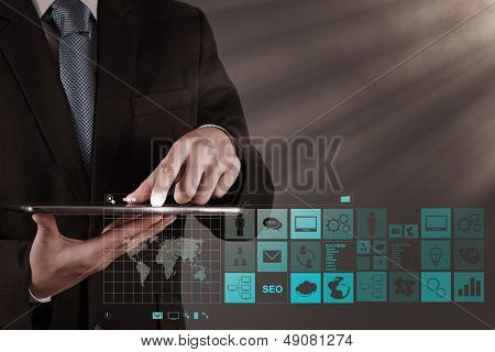 Businessman Hand Working With Www. Written In Search Bar On Modern Computer