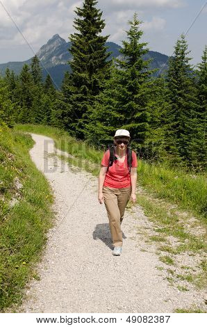 Female Hiker In The Austrian Alps