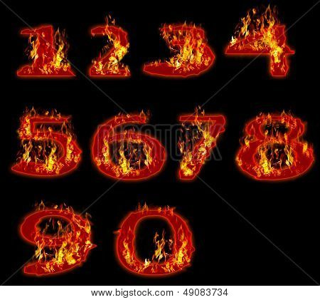 fire burning on arabic number zero to nine use for multipurpose
