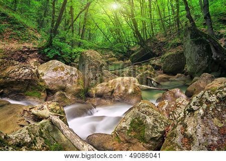 Mountain River In Spring. A Stream Of Water In Forest And Mountain Terrain