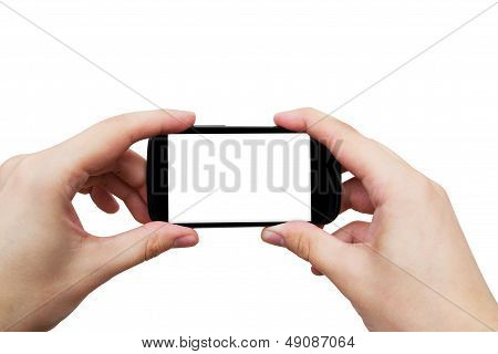 Hand Holding Mobile Phone. Smartphone With Blank Display