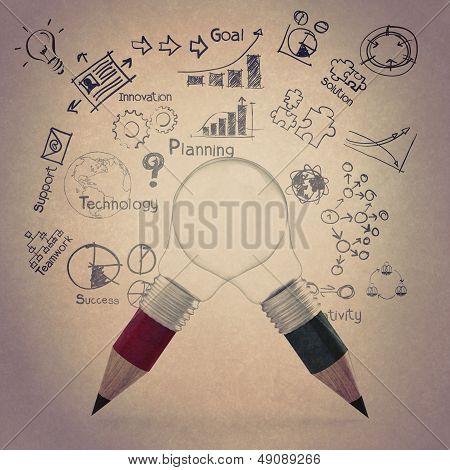 Creative Design Business As Pencil Lightbulb 3D As Business Design