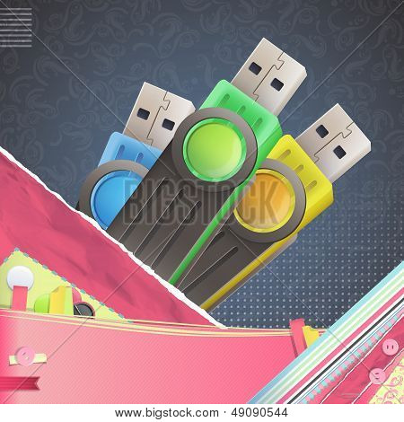 Nice Design With Colorful Pendrive. Vector Design
