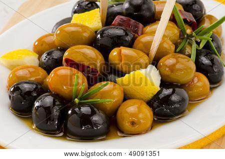 Spanish Cuisine. Marinated Olives.