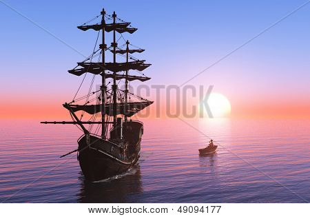 Sailing ship and a boat in the sea at dawn.