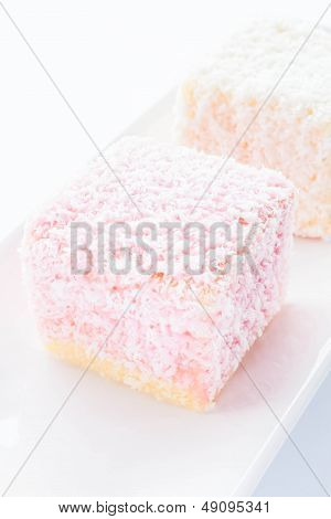 Lamington Sponge Cakes On White Plate
