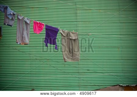 Clothes  Drying On A Clothesline.
