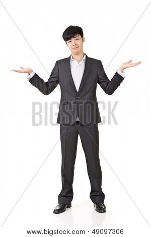 Businessman give you a gesture of unsure, full length portrait isolated on white background.