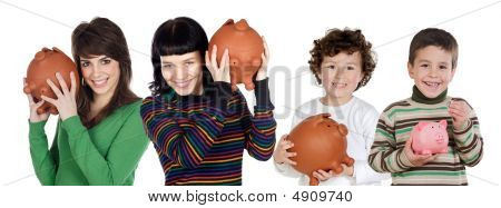 Two Children And Two Teenagers With The Savings
