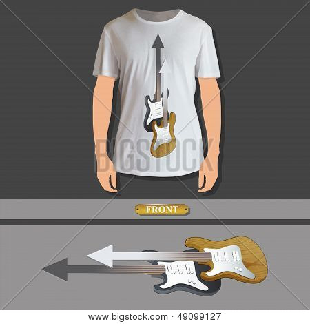 Realistic Bass And Guitar Printed On White Shirt. Vector Design