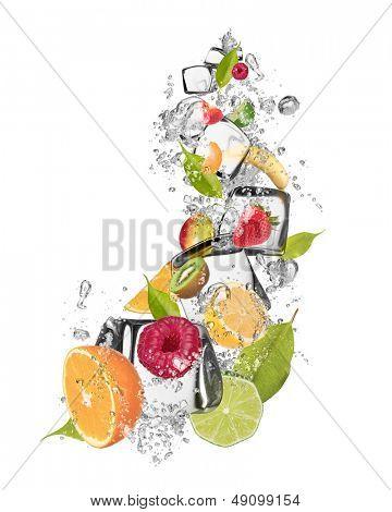 Fresh fruit mix with ice cubes, isolated on white background