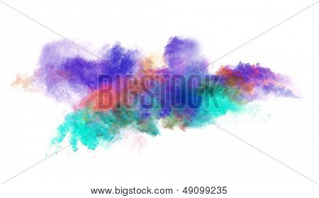 Freeze motion of colored dust explosion isolated on white background