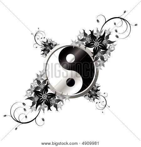 Yin Yang With Flowers