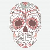 image of sugar skulls  - Day of The Dead colorful Skull with floral ornament - JPG