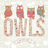 stock photo of owl eyes  - Cute cartoon owls in vector with text made of bright flowers - JPG